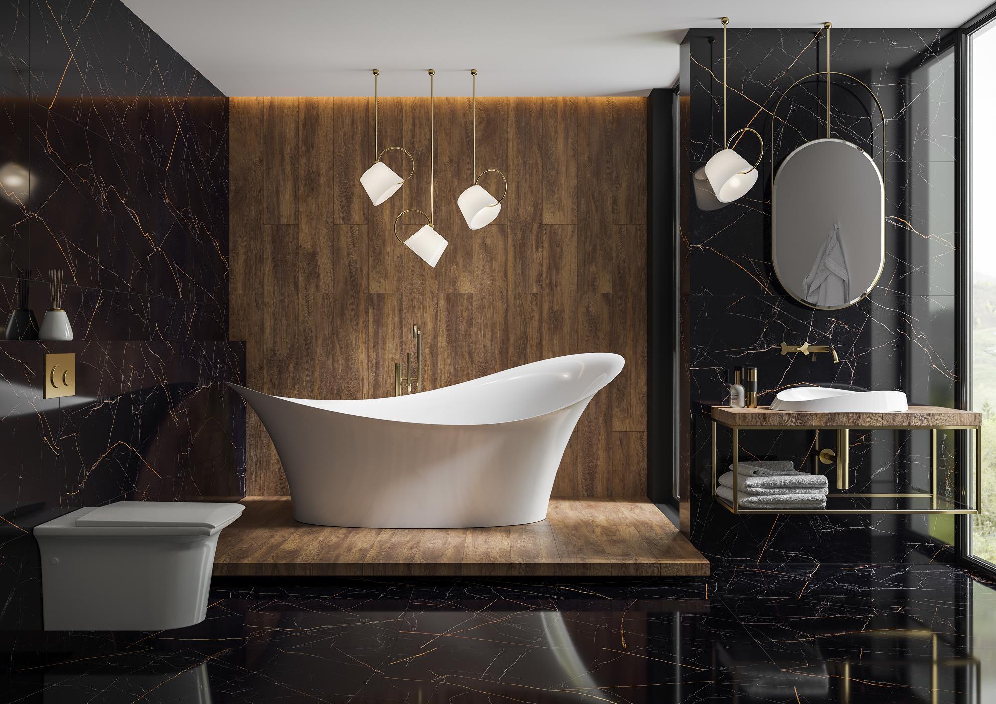 łazienka w czarnym marmurze